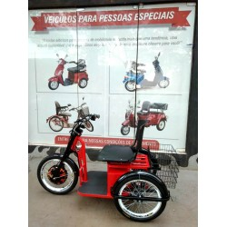 Triciclo Elétrico Scooter  Para Cadeirante Idoso vermelho Parce 60X